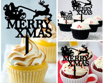 Ca470 New Arrival 10 pcs/Decorations Cupcake Topper/ santa claus and merry christmas /Wedding/Props/Party/Food & drink/Fun/Birthday/Shop