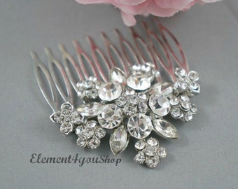 Bridal comb, Rhinestone hair comb, Wedding silver comb, Bride hair comb, Wedding head piece, Bridal rhinestone comb, Wedding headpiece comb