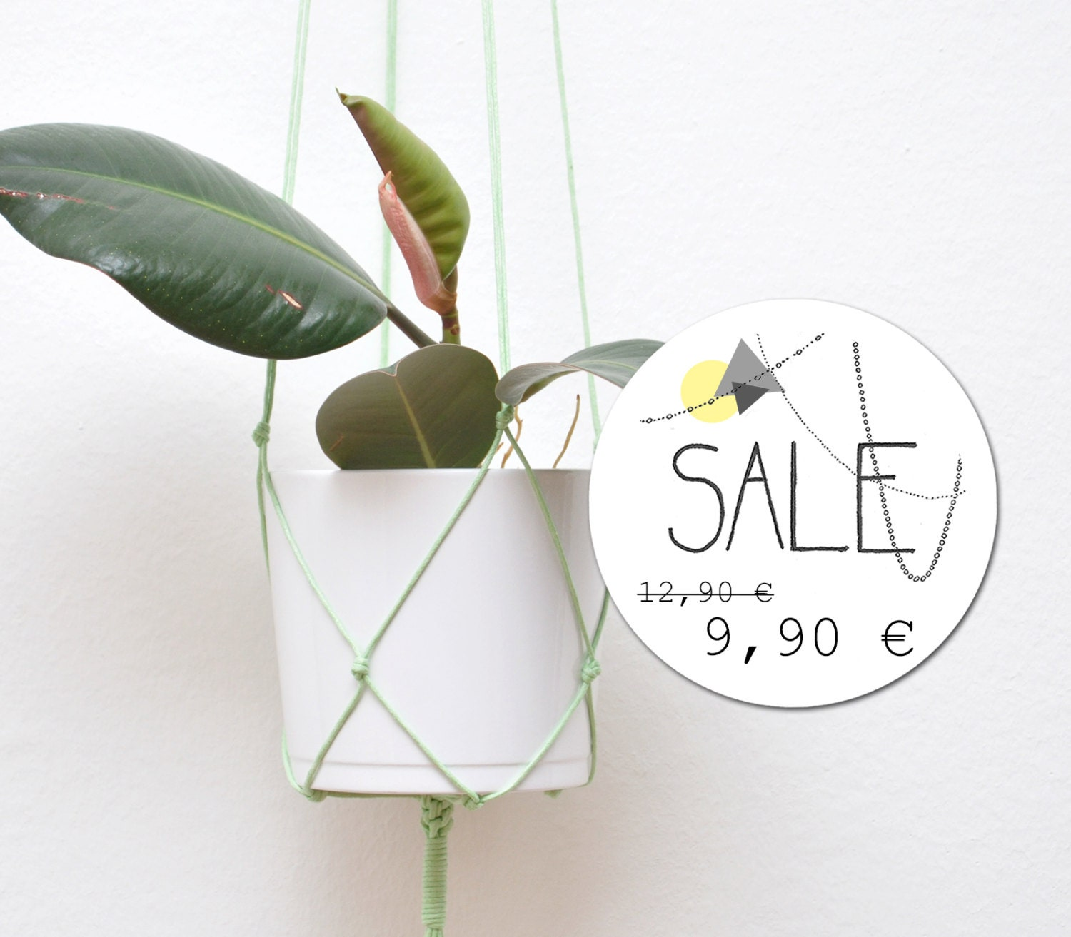 Mint Green Macrame Wall Hanging Pot Holder Plant By