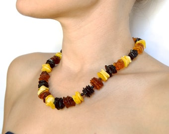 Baltic amber necklace multicolored