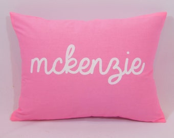 Custom made personalized name pink cotton fabric and white (or custom color) pillow cover/sham. Multiple sizes/custom color options