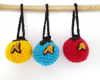 Star Trek ToS Crochet Baubles x3 Amigurumi Red Gold Blue