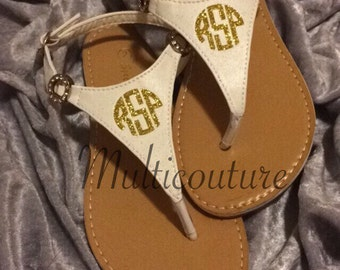 Monogrammed Sandals: White Little/Big Girl's monogrammed Sandals