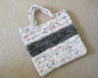 Tote made from recycled plastic bags (plarn). White with gray stripe....Free shipping!