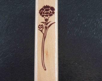 Single Romantic Love Carnation Flower Rubber Stamp