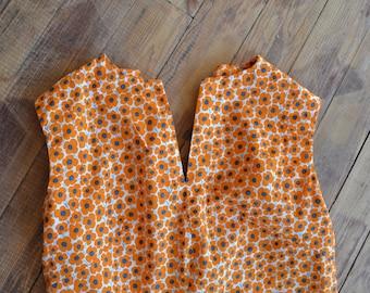 orange flower dress with short sleeves