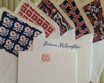 Personalized Letterpress Stationery with ikat Liner Set