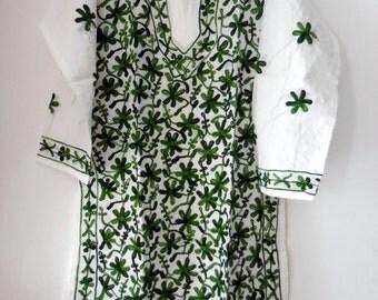 Gift for wife Green Dress on sale women Cotton romantic dress Top Hand Embroidered womens shirt salwar kameez  kurti