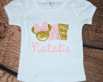 Girl Pink and Gold embroidered personalized First Birthday shirt bodysuit Miss Mouse glitter appliqué