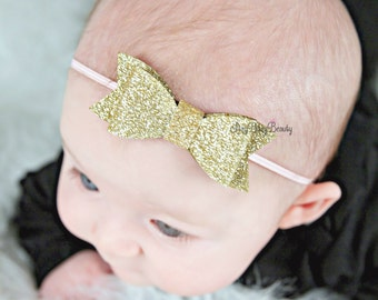 Pink And Gold Glittery Headband - Gold Fabric Headband - Girls Headband - Hair Bow - Gold - Glitter - Simple