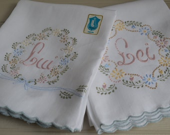 Pair of vintage embroidered Italian linen towels, Lui and Lei, His and Hers