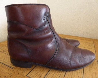 Vintage Mens 1960's Leather Ankle Boots MADE In USA - UK Size 6