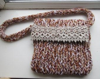 Handmade Woolly Handbag Owl Fabric Lining - Very Cute!!