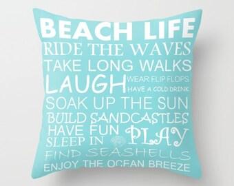 Throw Pillow Cover Beach House Coastal Living Beach Decor Nautical Decor Choose your color!