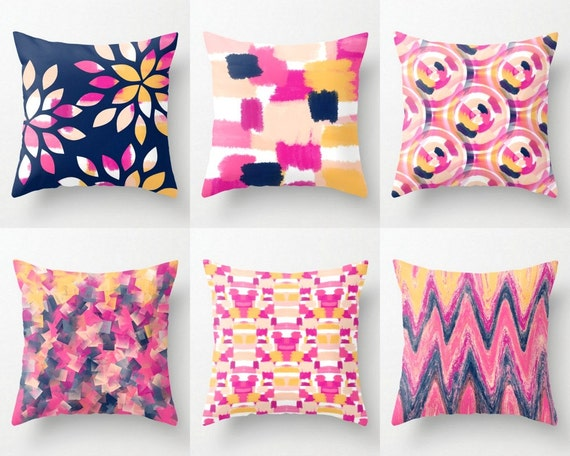 Navy And Pink Decorative Pillows: Hot Pink Navy Pillow Covers Pink Navy Orange Peach Mix And