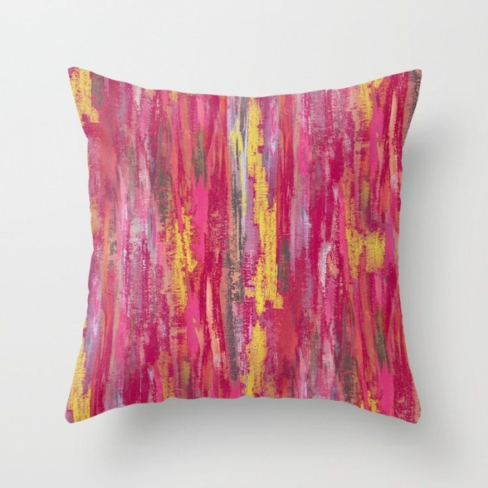 Fuschia Modern Pillows : Abstract Pillow Cover Pink Grey Yellow Fuschia Modern Home