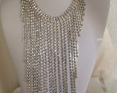 Runway Haute Couture Cascading Rhinestone Massive Dazzling Waterfall Necklace Clear Art Glass Prong Set Stunning Costume Vintage Jewelry