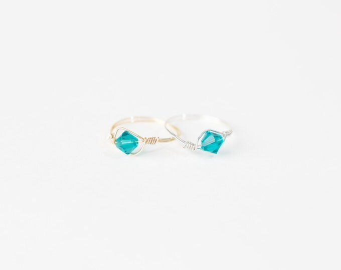Decmeber Birthstone Ring-Swarovski Crystal Birthstone Ring-December Birthstone Crystal Bead Ring-Silver Birthstone Ring-Gold Birthstone Ring