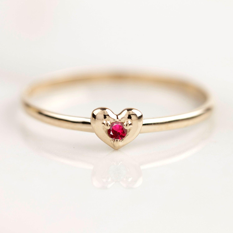 Diamantring herz gold  Rubin-Ring winzige Rubin Herz-Ring 14k 18k gold 2mm Rubin