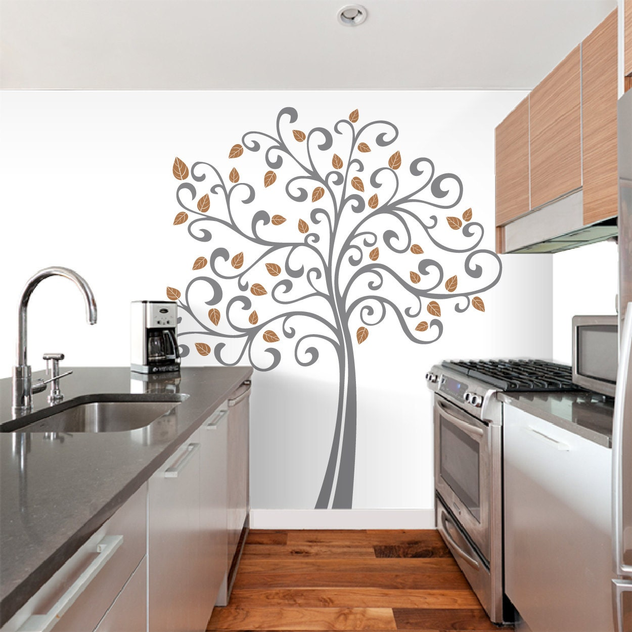 Elegant 7 Ft. Large Curly Tree Wall Decal Deco Art Sticker Mural   FREE SHIPPING! Conception Etonnante