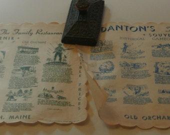Danton's Family Restaurant, 2 Placemats,  Old Orchard Beach, Maine, c1980s, fair shape, Historical Cameos