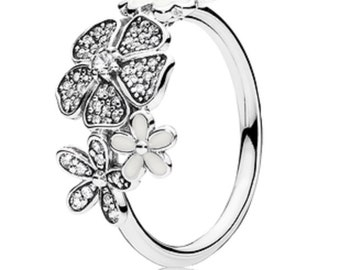 Sterling Silver Shimmering Bouquet Ring size 54 L usa 7 anillo spring
