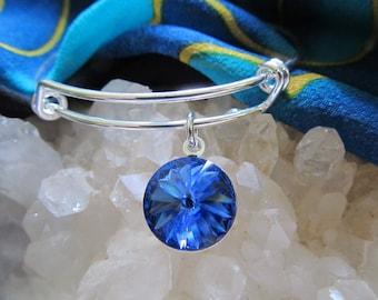 "D.  Kirkup Designs ""Circle of Light""  Swarovski Sapphire Crystal Bracelet"
