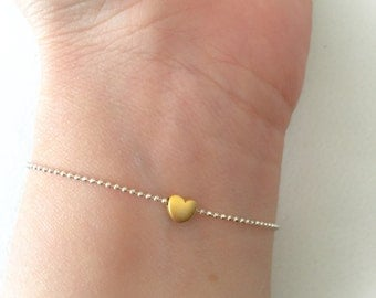 925 sterling silver bracelet with gold plated golden mini heart