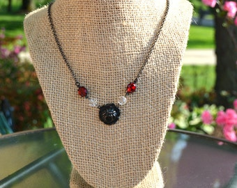 Romantic Ruby Red Swarovski Rhinestone Necklace with Clear Fire Polished Crystals and Antique Brass Rose Charm, Estate Style Jewelry.