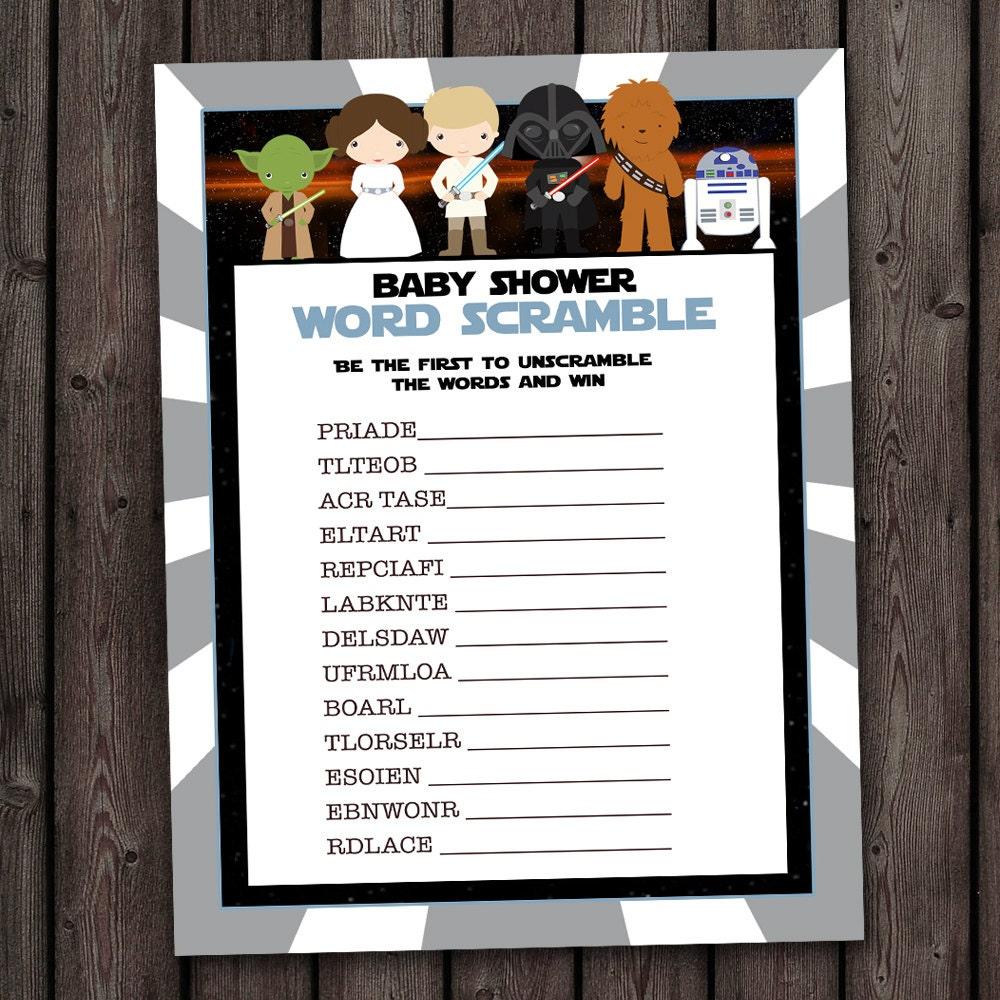 star wars baby shower word scramble game word scramble star