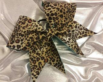 Cheetah and Aqua Cheer Bow