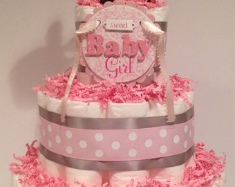 Baby Girl Diaper Cake, Baby Shower Centerpiece, Girl Diaper Cake, Baby Shower Gift, Diaper Cake