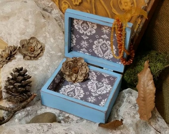 Jewelry Box, Shabby Chic Jewelry Box, Blue Jewelry Box, Vintage Jewelry Box, Blue, RobinsStudio, Shabby Chic, Country Box, Vintage, Rustic