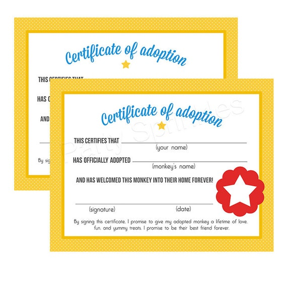 Yellow red circus carnival monkey pet adoption certificates birthday party diy printable for Diy certificates