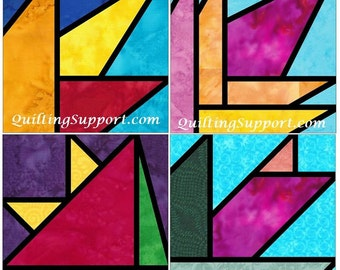 Quarter Stained Glass Stars Set 1 Paper Foundation Piecing Quilting 4 Block Patterns PDF