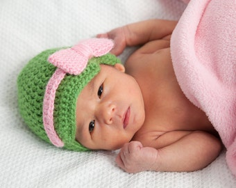Crochet Baby Hat - Pink and Green - Baby Gift