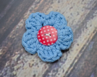 Flower Accessory - Hair Clip - Blue and Red