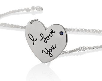 Custom Made Heart Necklace Actual Handwriting Jewelry - With your Personalized Signature and birthstone