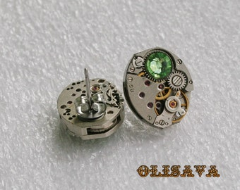 Steampunk Stud Earrings with  Mechanical Watch Movement and Peridot Swarovski crystals , Steampunk Earrings , Steampunk jewelry