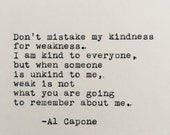 Al Capone Kindness Quote Typed on Typewriter - 4x6 White Cardstock