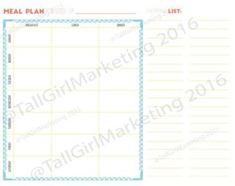 Menu Planner - Printable - Fill-In - Instant Download - Beachy Keen