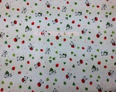 Natural Color Japanese Cotton Fabric with Small Pandas, strawberries and Clovers printed! - 100% MADE IN JAPAN! (JP1)