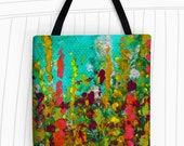 Green Garden Tote Bag. Art Tote Bag, Reusable Bags, Grocery Bag, Large Tote Bag, Travel Bag, Wild Flowers, Floral Tote, Abstract Art