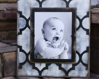 Handmade distressed 8x10 picture frame; home decor; distressed wall frame; black and white; Agadir pattern; wall frame