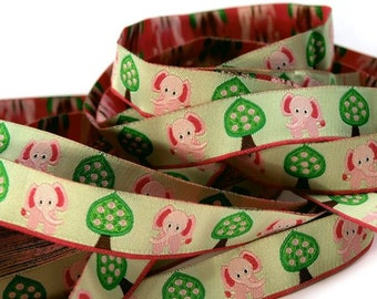 Woven Ribbon 16 mm elephant & tree