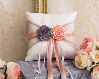 Gray and Peach Wedding Ring Bearer Pillow, Wedding Ring Pillow, Peach and Gray Wedding Pillow, Peach Wedding Accessories