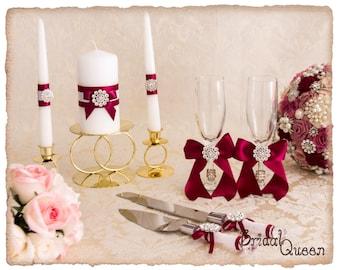 Wedding Unity Candle Set, Wedding cake Serving Set, Champagne Toasting Flutes, Burgundy Wedding Acessories