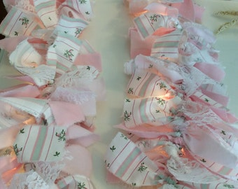 Pink & Mint Rosebud Fabric 7.5 ft Lighted Garland