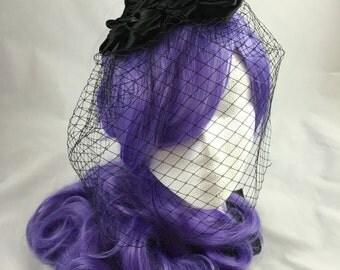 Black Birdcage Veil, Black Fascinator, Funeral Veil, Black Veil, Black Roses, Black Wedding Accessories, Veil Alternative, Gothic Wedding