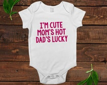 Funny Baby Girl Shirt - Newborn Baby Girl Gift - New Baby Girl Pink Outfit - Cute Hot Lucky
